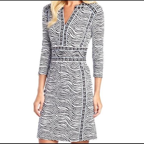 J. McLaughlin green zebra striped dress size M